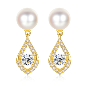 7-7.5mm Akoya Pearl 18KG Gold Plated Rain Drop Dancing Stone Earrings