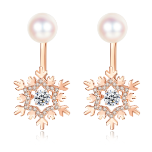 7.5-8mm Akoya Pearl 18KR Gold Plated Snowflake Dancing Stone Earrings