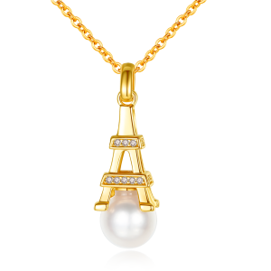 7-7.5mm Akoya Pearl 18KG Gold Plated Eiffel Tower Collection Necklace