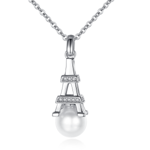 7-7.5mm Akoya Pearl 18KW Gold Plated Eiffel Tower Collection Necklace