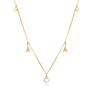 7-7.5mm Akoya Pearl 18KG Gold Plated Eiffel Tower Collection With Star Necklace