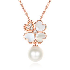 7-7.5mm Akoya Pearl 18 Kr Gold Plated Clover Collection Dangle Necklace