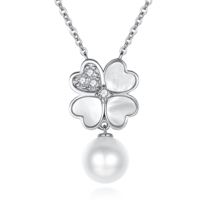 7-7.5mm Akoya Pearl 18 Kw Gold Plated Clover Collection Dangle Necklace