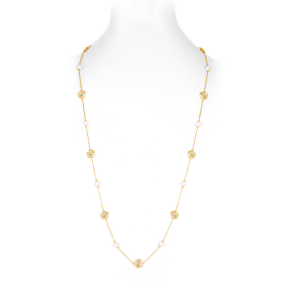 6-6.5mm Akoya Pearl 18KG Gold Plated Rose Long Necklace