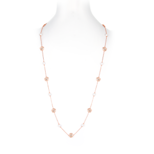 6-6.5mm Akoya Pearl 18KR Gold Plated Rose Long Necklace