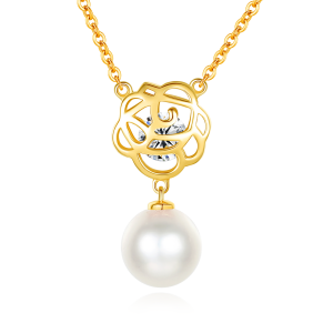7.5-8mm Akoya Pearl 18KG Gold Plated Rose Necklace