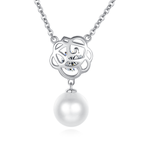 7.5-8mm Akoya Pearl 18KW Goldplated Rose Necklace