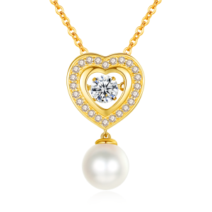 7.5-8mm Akoya Pearl 18KG Gold Plated Heart Dancing Stone Necklace