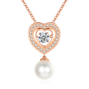 7.5-8mm Akoya Pearl 18KR Gold Plated Heart Dancing Stone Necklace
